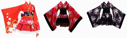 Japanese Cherry Black Kimono For Asian Sex Dolls